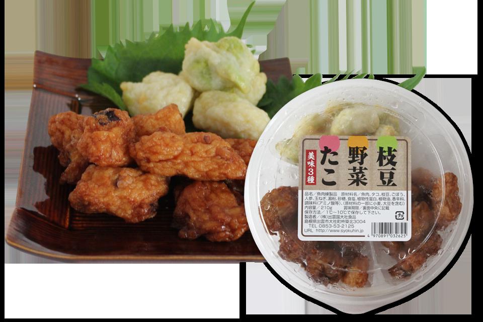 一口天ぷら(タコ、イカ、野菜、枝豆、きくらげ、3種盛)
